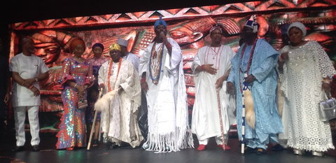 The Ooni of Ife, in company of dignitaries and celebrities at the second edition of Queen Moremi Ajasoro musicals on Dec. 24 in Lagos. [NAN]