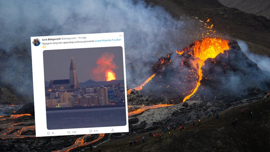 Niezwykłe ujęcie erupcji wulkanu Fagradalsfjall ze stolicy Islandii