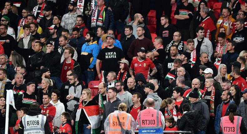 Hungary fans at Wembley for their World Cup qualifier against England Creator: Ben STANSALL