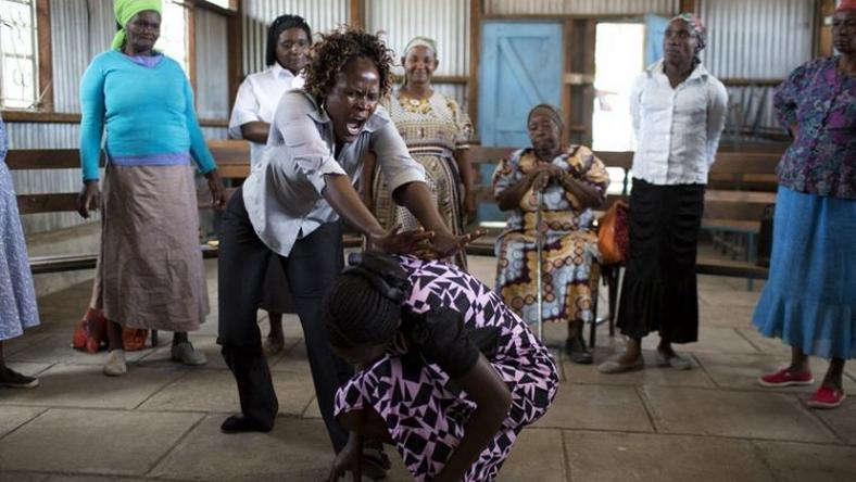 Martial art class for grannies in Kenya