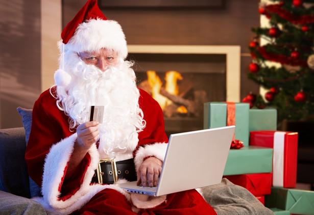 Święty Mikołaj - zakupy w Internecie. Fot. Shutterstock