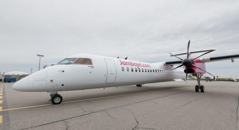 Jambojet Bombardier Dash 8 Q400 aircraft. (HapaKenya)