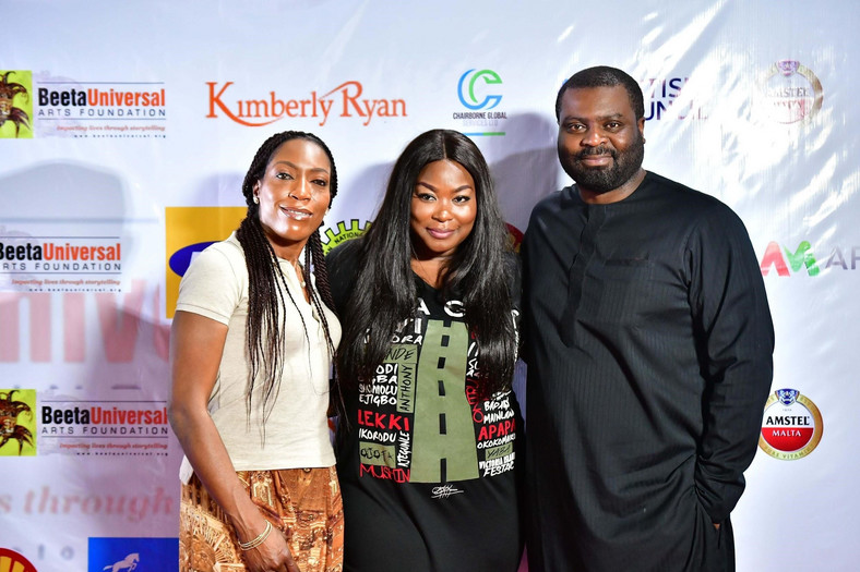 L-R: Nonny Ugboma, Executive Secretary, MTN Foundation; Bikiya Graham-Douglas, COO, Beeta Universal Arts Foundation and Abasi-Ekong Udobang, Senior Manager, Program Implementation, MTN Foundation at the premiere of the MTN Foundation sponsored Our Son The Minister at Terra Kulture, Victoria Island, Lagos.