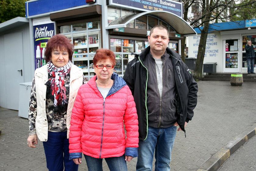 Danuta Błaszczyk (62 l.), Gabriela (62 l.) i Adam (31 l.) Poprawa - kioskarze z Mikołowa