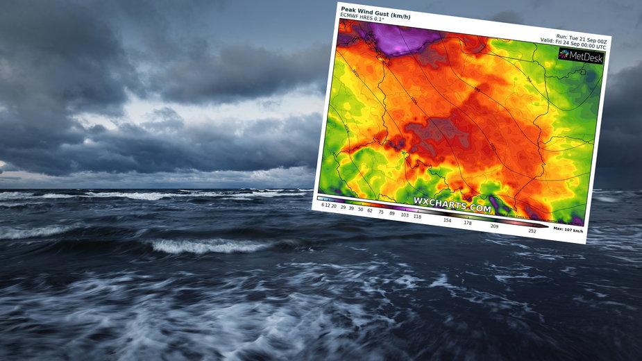 Nad morzem wiatr może osiągać w porywach 100 km na godz.