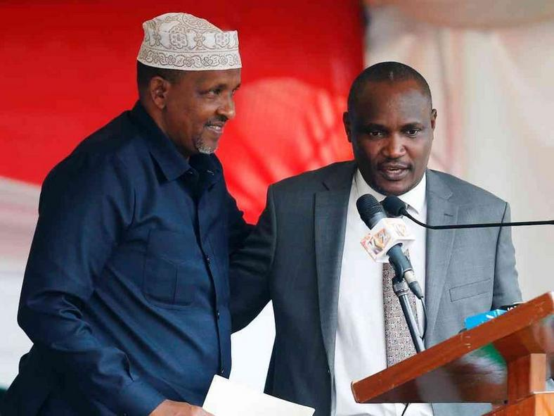 National Assembly Majority Leader Aden Duale with Minority Leader John Mbadi during a past public function