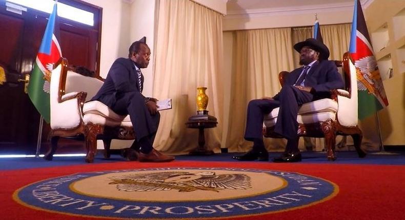South Sudan President Salva Kiir with journalist Jeff Koinange in an interview. President Kiir has finally brocken silence about the slain businesswoman Monica Kimani