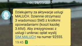 """""""Dziekujemy za aktywacje uslugi MALUCH"""" - uwaga na kolejny przekręt z SMS Premium"""