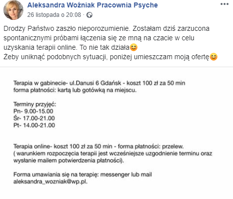Aleksandra Woźniak na Facebooku