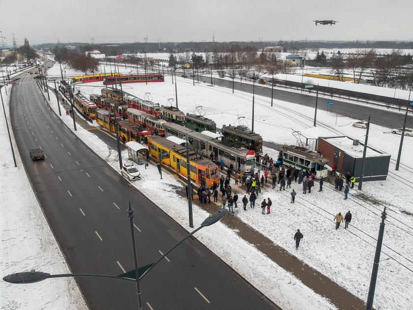 Parada tramwajów w Łodzi