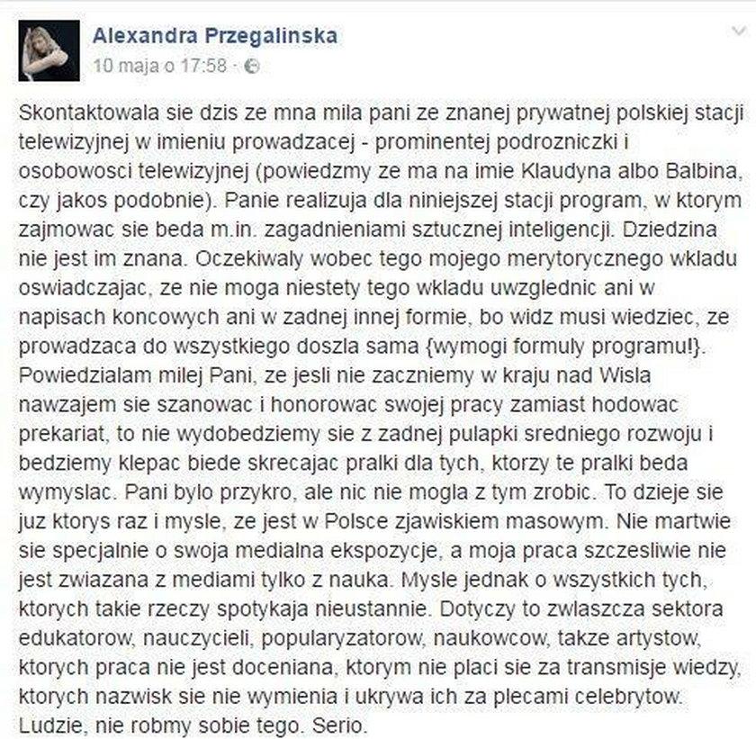 Aleksandra Przegalińska skrytykowała Martynę Wojciechowską