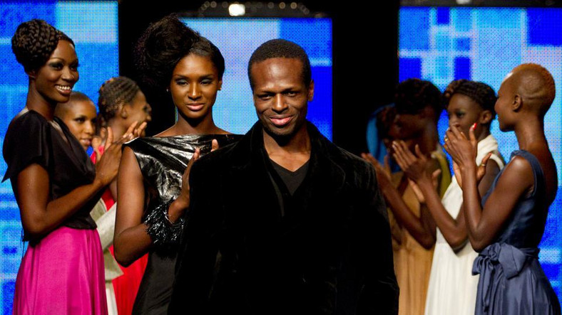 Cameroonian designer Imane Ayissi makes history by becoming the first sub-Saharan African designer to show in the Paris haute couture week (Rebecca Blackwell / AP)