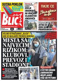 Blic, naslovna za 3.7.2020.