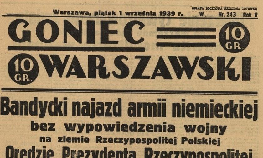 Tytuły gazet z 1 września 1939 roku.