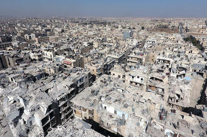 Aerial view of war-ravaged Aleppo