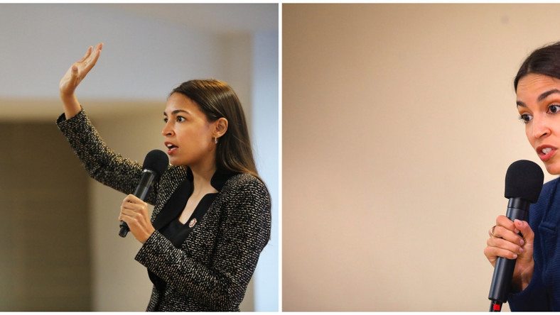 AOC collage U.S. Rep. Alexandria Ocasio-Cortez (D-NY) speaks at a public housing town hall at a New York City Housing Authority (NYCHA) residence on August 29, 2019