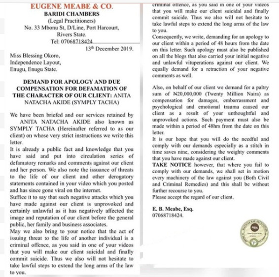 The letter of the suit was shared on Linda Ikeji's blog on Tuesday, December 17, 2019. According to her lawyers, Eugene Meabe and Co of Baridi Chambers, who filed the lawsuit on her behalf on Friday, December 13, 2019, Blessing Okoro was instructed to apologise to Tacha. [LindaIkeji]