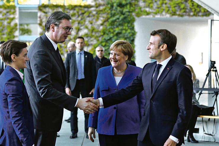 Ana Brnabić, Aleksandar Vučić, Angela Merkel, Emanuel Makron