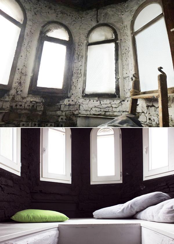 Wieżyczka przed i po remoncie.