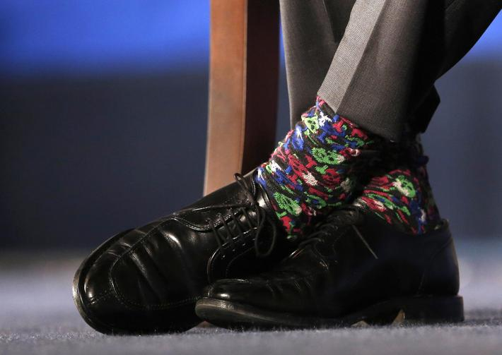 Canadian PM Trudeau's colorful socks are seen during a Q&A session after his speech at the U.S. Cham