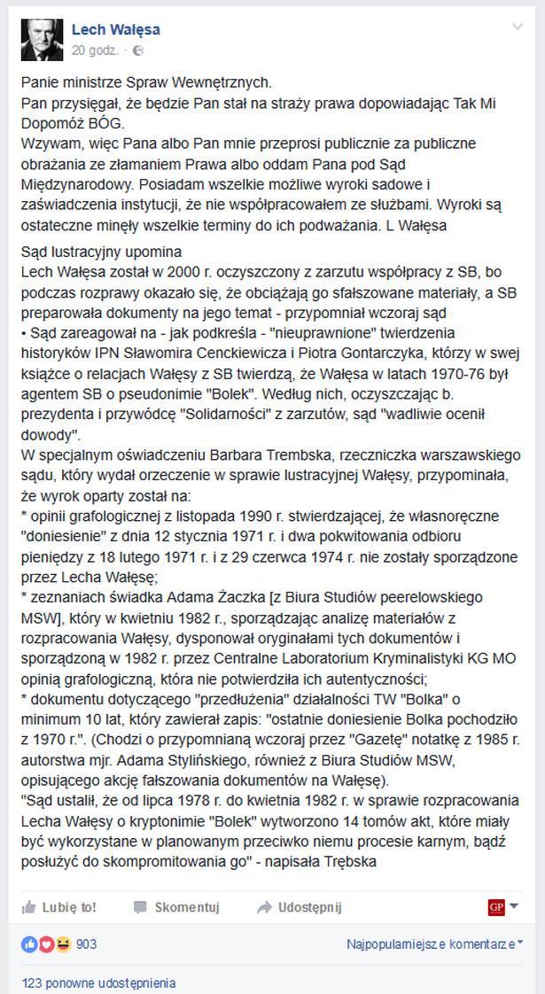 Post z profilu FB Lecha Wałęsy