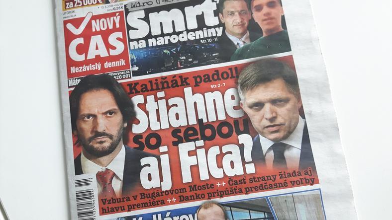 """Dzisiejszy """"Novy Cas"""": dwa czarne charaktery: Kalinak z lewej, Fico z prawej. Tytuł: """"Kalinak padł. Czy pociagnie za sobą Fico?"""