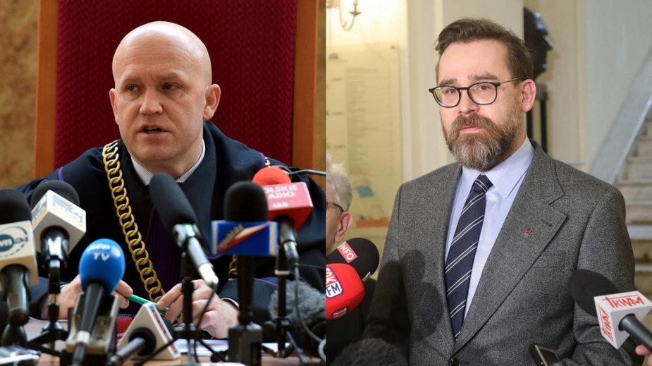 """Sędziowie Dariusz Mazur, rzecznik stowarzyszenia """"Themis"""" (L) i Bartłomiej Przymusiński, rzecznik stowarzyszenia """"Iustitia"""" (P)"""