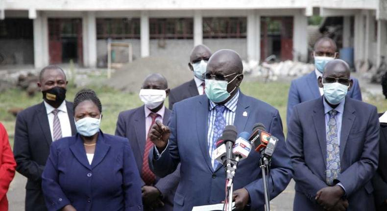 Education CS George Magoha during a recent inspection of schools in Nakuru County