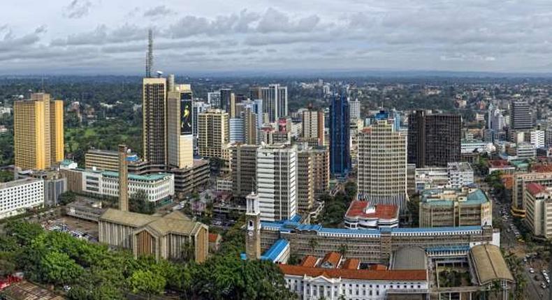 Nairobi City skyline.