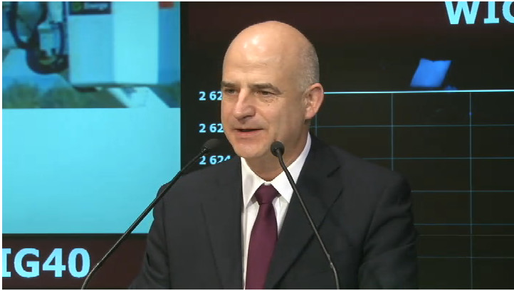 Debiut Grupy Energa, na zdj. Mirosław Bieliński - prezes zarządu ENERGA SA, - źródło GPW Media.