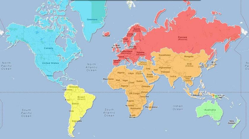 Mapa rozmiarów piersi na świecie