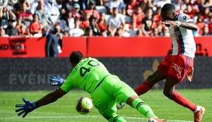 Karl Toko Ekambi's eighth goal of the season was not enough for Lyon at Nice Creator: CLEMENT MAHOUDEAU