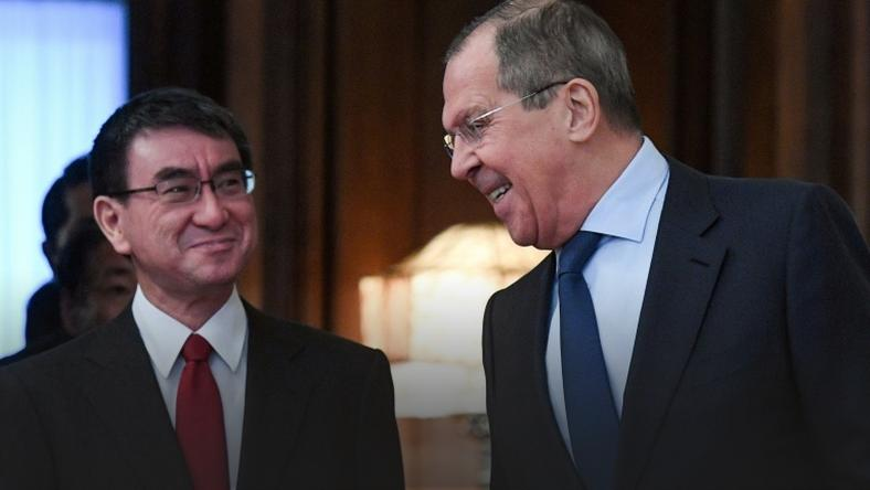 Russian Foreign Minister Sergei Lavrov (R) met his Japanese counterpart Taro Kono for the first time since they agreed last year to increase efforts to sign a treaty to formally end WWII