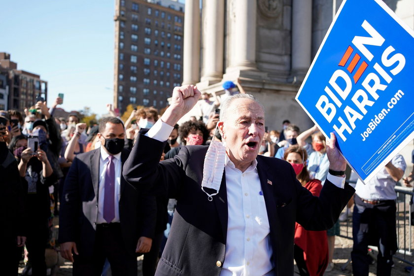 People celebrate after Biden declared winner