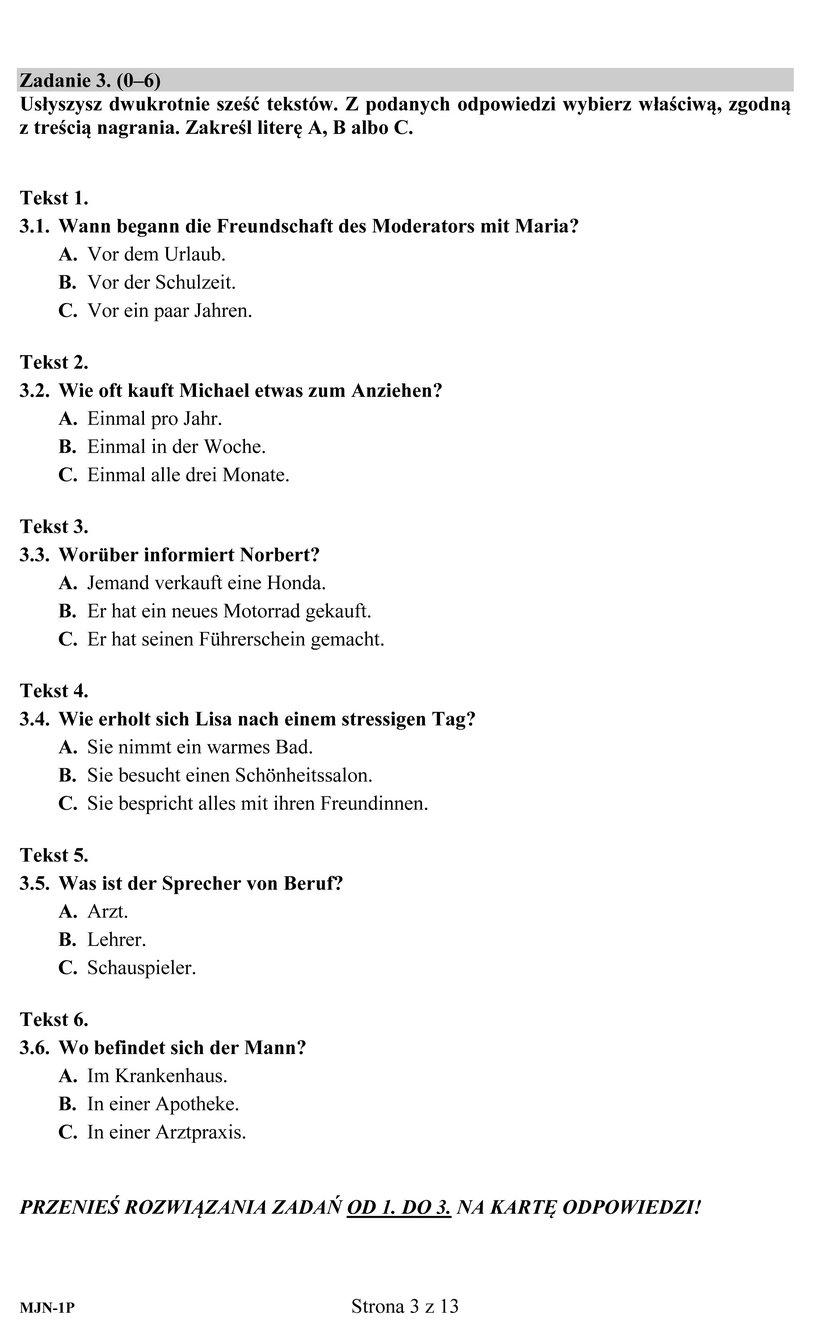 Arkusze egzaminacyjne - niemiecki na poziomie podstawowym