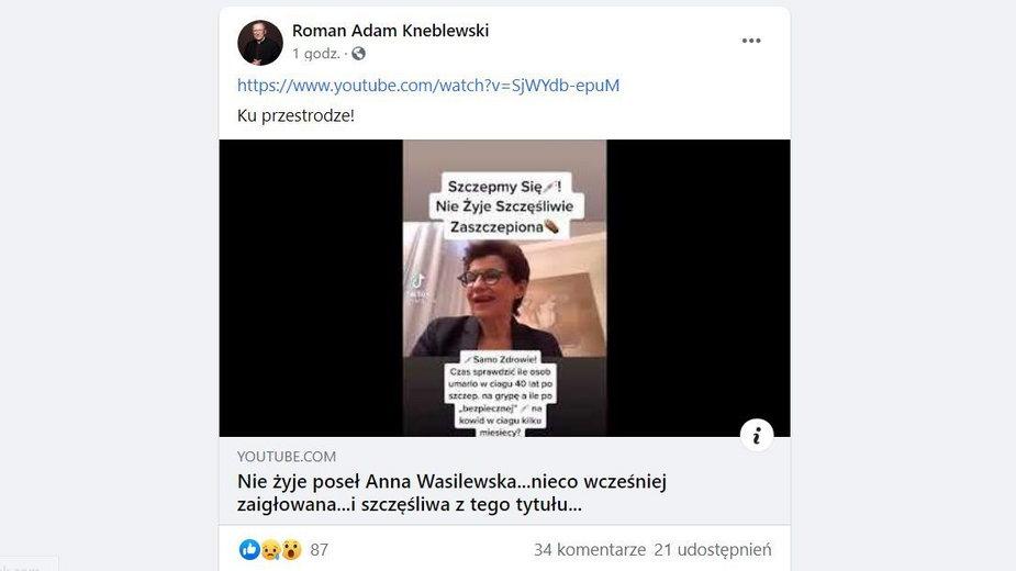 Roman Kneblewski o śmierci Anny Wasilewskiej