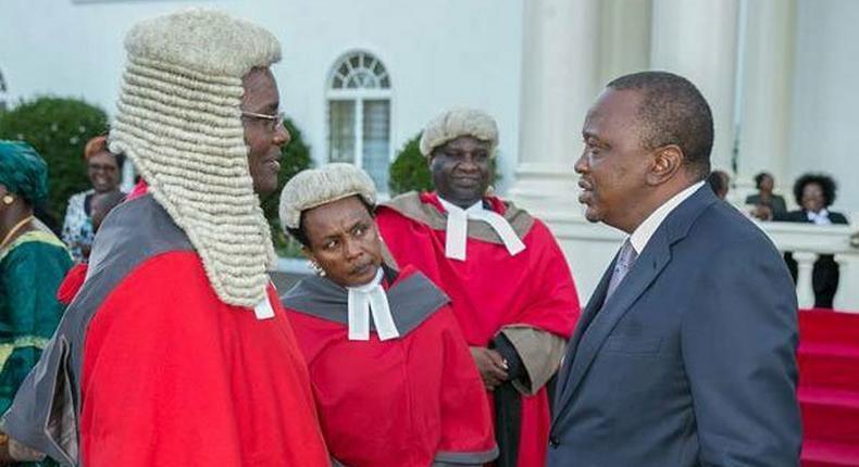 President Uhuru Kenyatta with Chief Justice David Maraga and deputy CJ Philomena Mwilu at State House