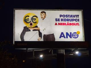 BigBoard of civic association ANO 2011, Andrej Babis, pupett, pre-election campaign billboard