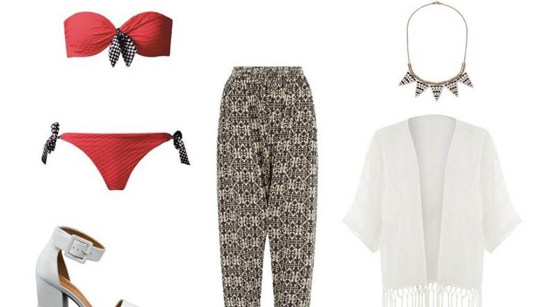 Bikini Calzedonia: góra - 130 pln, dół - 70 pln buty Gino Rossi: 549,9 pln spodnie New Look: 119,9 pln naszyjnik New Yorker: 34,95 pln kimono New Look: 149,9 pln