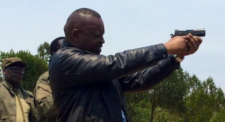 DCI boss George Kinoti during a shooting exercise on Thursday (Twitter)