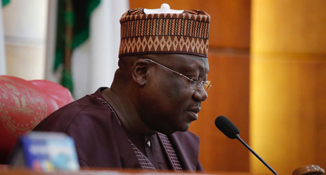President of the Senate, Ahmad Lawan during plenary in the Senate Chamber in Abuja. (Channels TV)