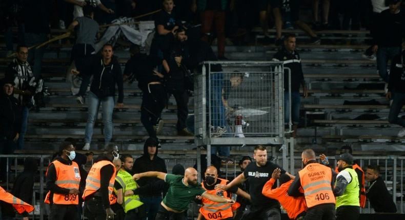 Marseille supporters clashed with opposing supporters and security staff at Angers' stadium Creator: JEAN-FRANCOIS MONIER