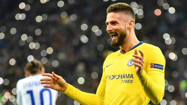 Giroud scored his first hat-trick for Chelsea