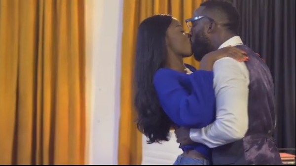Diane kisses Iyanya passionately on the set of her first drama, 'The Therapist'.[Instagram/diane.russet]