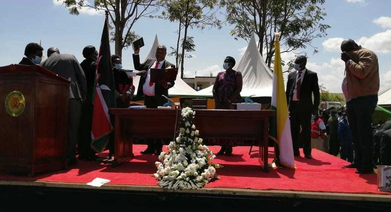 Amos Nyaribo sworn in as Nyamira Governor