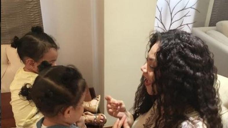 Nadia Buari and her twin daughters