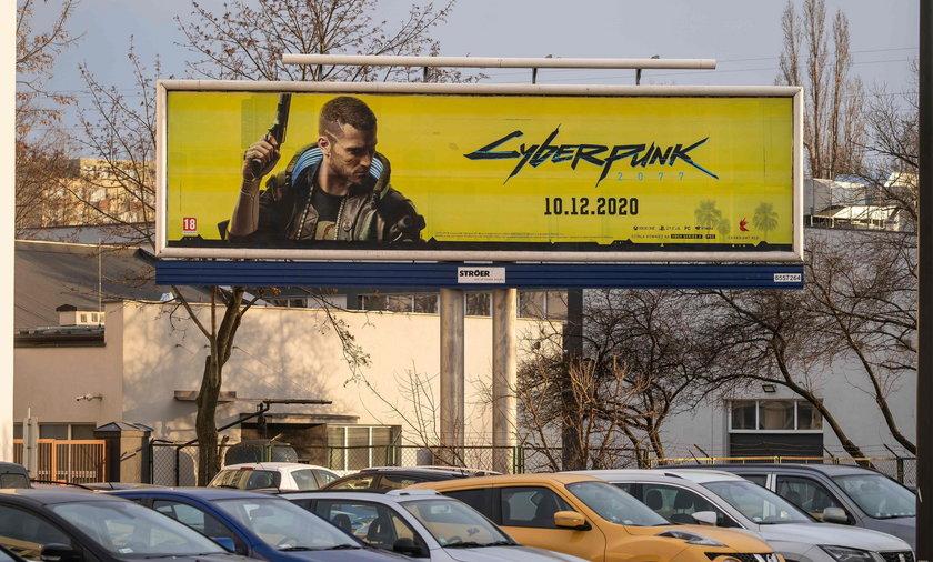 Na zdjęciu reklama gry Cyberpunk na billboardzie w Warszawie.