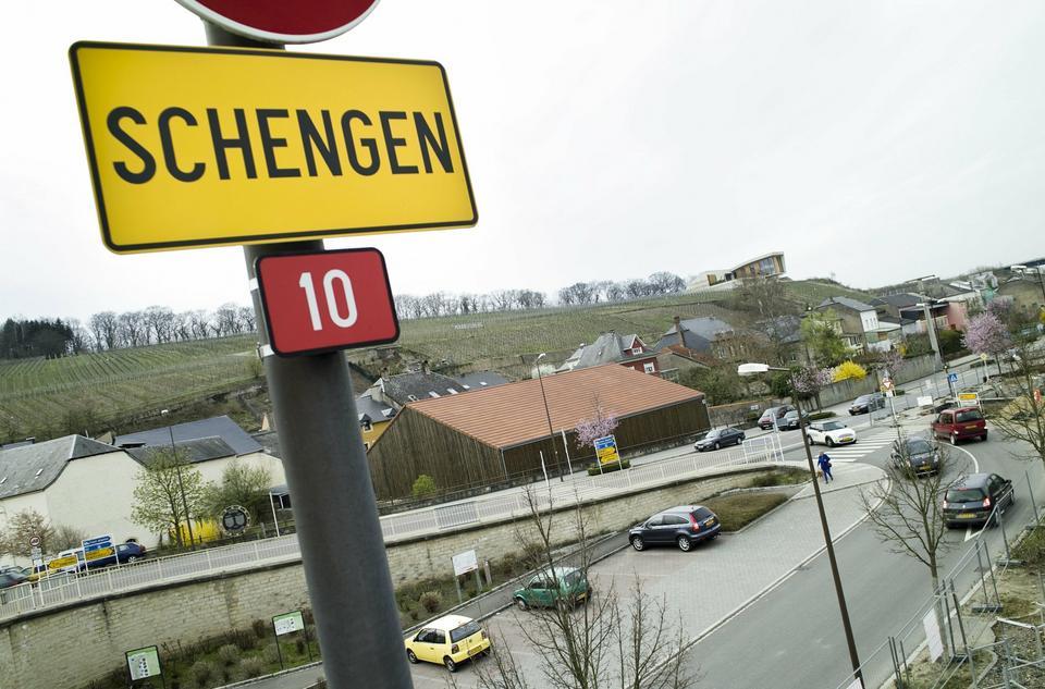 Widok na jedną z ulic w Schengen