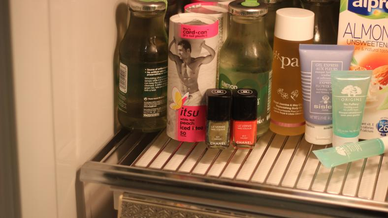 Storing makeup products in the fridge