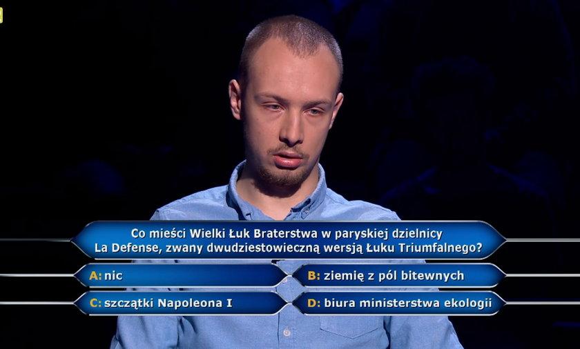 """""""Milionerzy"""" Konrad był o krok do miliona! Padło pytania za 500 tysięcy."""